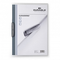 Папка с клипом Durable Duraswing Transparent, до 30 листов, А4, полипропилен